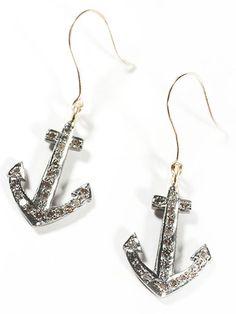 Anchors Away  Catbird Pavé Anchor earrings, $210, catbirdnyc.com.