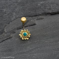Tribal, Beautiful Lotus Flower Belly Button Ring Decorated With Real Turquoise Gemstone Material : Surgical Steel Pin, Tibetan Turquoise, The Bottom discs is made of Brass Top balls diameter is: Inch - Bottom discs diameter is: Inc - Pin is : - thick and Belly Rings, Belly Button Rings, Gold Helix Earrings, Indian Navel, Cartilage Jewelry, Belly Button Piercing, Ear Piercings, Piercing Types, Piercing Ring