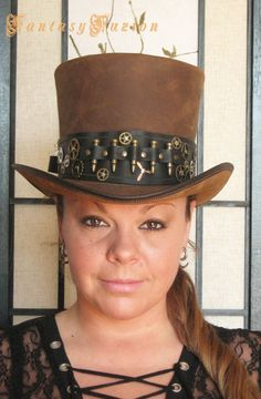 Steampunk Hat Post-Apocalyptic Industrial Gears and Bullets Band Leather HIGH Top Hat 2 Tones #steampunkhat