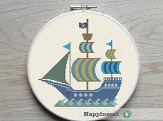 cross stitch pattern pirate ship boat PDF   instant por Happinesst
