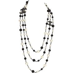 Preowned Chanel Black Beaded & Pearl Three Strand Necklace ($2,750) ❤ liked on Polyvore featuring jewelry, necklaces, chanel, black, jewels, chanel necklace, pearl strand necklace, pearl jewellery, bead strand necklace and pendant necklace
