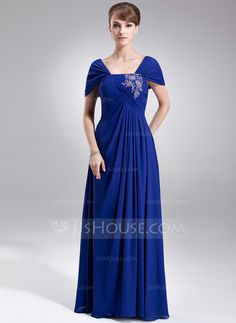 [US$ 148.99] A-Line/Princess Off-the-Shoulder Floor-Length Chiffon Mother of the Bride Dress With Ruffle Lace Beading Sequins