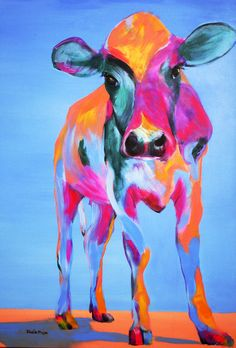 """Sheila Moya Harris; Acrylic, 2009, Painting """"Calf""""....could use staples prints and watercolors or pastels...."""