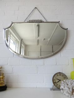 Vintage Large Art Deco Bevelled Edge Wall Mirror with Chrome Frame WOW