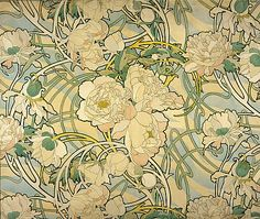 Art nouveau style. Gentle curved lines, soft pastels and thick outlines around the florals implies a layering affect.  It has a gentle vividness to its expression.   Alphonse Mucha, 'Peonies' 1897– 1898.