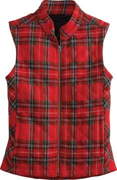 The Womens Wool Blend Tartan Plaid Vest is wonderfully warm and festive. This quilted holiday vest features a zip front and adjustable snap back flap. Red Vest, Plaid Vest, Tartan Plaid, Plaid Outfits, Cowgirl Outfits, Fall Outfits, Trendy Outfits, Cowgirl Fashion, Country Outfits