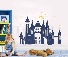 PopDecors  Princess Castle Custom Beautiful Tree Wall Decals for Kids Rooms Teen Girls Boys Wallpaper Murals Sticker Wall Stickers Nursery Decor Nursery Decals >>> Learn more by visiting the image link.