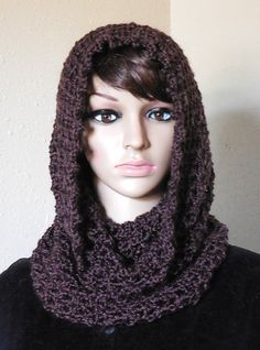 Infinity Scarf Hooded Cowl Walnut Brown Fall Fashion Scarves – FREE SHIPPING in the United States - Women's fall fashion scarves in walnut brown. Infinity scarf hooded cowl is handmade. Very soft scarves with picot edging at top.