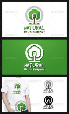 Natural Food Logo Template  #GraphicRiver         - Three color version: Color, greyscale and single color.  - The logo is 100% resizable.   - You can change text and colors very easy using the named and organized layers that includes the file.   - The typography used is GoodDog you