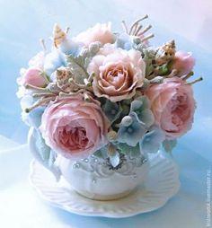 Teacup Flowers, Sugar Flowers, Paper Flowers, Polymer Clay Flowers, Polymer Clay Art, Still Life Flowers, Gum Paste Flowers, Sugar Craft, Flower Boxes