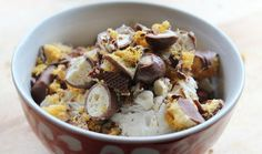 Emma's Quick Ice Cream Crunch Recipe Search, Something Sweet, Acai Bowl, Delicious Desserts, Cravings, Oatmeal, Deserts, Ice Cream, Tasty
