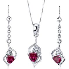 Revoni Sterling Silver 2.00 carats total weight Trillion Cut Garnet Pendant Earrings and 46 CM Length Silver Necklace Set 7W6B8Lh