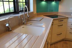 New stunning kitchen Sandstone Corian integrated with a sleek Glacier white inlay, supper place to have breakfast with family. British Country, Drawer Unit, Kitchen Worktop, Family Kitchen, Splashback, Corian, Bespoke Design, Work Tops, All Design