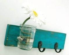 turquoise key hook wall key hanger mason jar vase by OldNewAgain