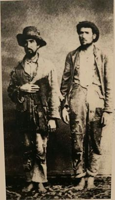 2 confederates captured near Norfolk VA 1864.Barefoot and in rags.