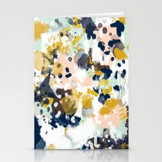 Sloane - Abstract painting in modern fresh colors navy, mint, blush, cream, white, and gold Stationery Card