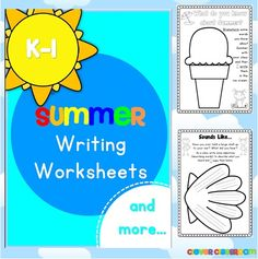 Summer Writing Worksheets K-1 - 73 pages  Summer is here! Summer writing worksheets for Kindergarten and Grade One students.$
