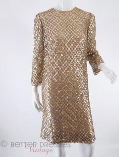 1965 Malcolm Starr sequined cocktail dress at Better Dresses Vintage.