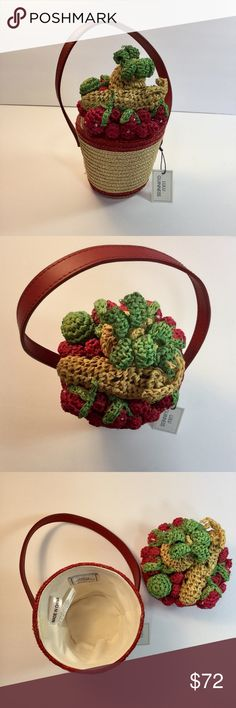 """NWT Vintage Lulu Guinness Fruit Bowl Purse This Authentic, NWT, vintage collector's piece, in excellent preowned vintage condition is the cutest, figural fruit made of wheat straw purse. It features a handle with a 2"""" drop meant  to be hand held 8"""" tall without handle. Purse size is 4"""" deep and 5"""" across the top. In great vintage condition. Please don't hesitate to ask questions about this item. Thank you for checking us out! Lulu Guinness Bags"""