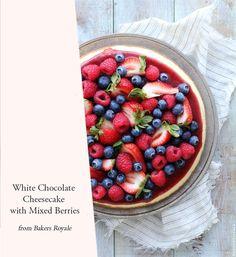 White chocolate cheesecake with mixed berries