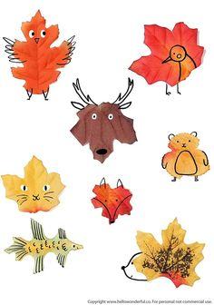 ef927182db :Hallo Eltern · :Basteln mit Kindern · Leaf Animal Art With Printable  Template #kidsart #kidscrafts #fallcrafts #leafart #fallart