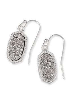Kendra Scott Lee Silver Earrings In Platinum Drusy