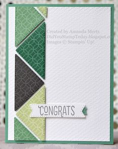 Triangle Congrats - Stampin' Up! The Right Triangle Masculine Birthday Cards, Masculine Cards, Birthday Questions, Right Triangle, Boy Cards, Thing 1, Card Making Techniques, Paper Cards, Greeting Cards Handmade