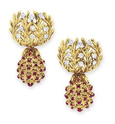 A PAIR OF RUBY AND DIAMOND EAR PENDANTS, BY JEAN SCHLUMBERGER, TIFFANY & CO.