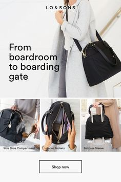 A laptop bag that keeps you organized as you go from the boardroom to boarding gate. includes travel-optimized features like a luggage sleeve handle, side shoe compartment, key leash, and plenty of pockets including a laptop sleeve designed to fi Travel Purse, Travel Bags, Carry On Luggage, Carry On Bag, Laptop Bag, Things To Buy, Travel Style, Laptop Sleeves, Womens Fashion