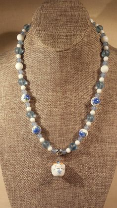 Lucky Cat Necklace in Blue and White with by SpringHammock on Etsy