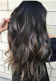 Marvelous gray to brown hair color on long wavy hair Hair 22 New Gorgeous Hair Color Trends For 2019 Gorgeous Hair Color, Hair Color Dark, Ombre Hair Color, Hair Color Balayage, Blonde Color, Hair Color Ideas For Black Hair, Balayage Highlights, Winter Hair Colour, Black To Brown Ombre Hair