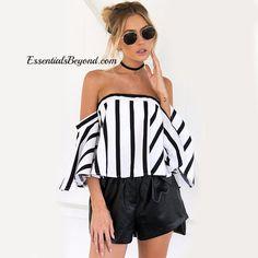 Striped Elegant Flare Sleeve Off Shoulder Top