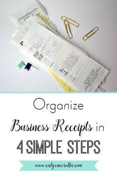 finance organization Business receipt organization can be a pain. But managing your receipts doesnt have to be difficult or time consuming. You can organize, track, and store your business receipts in just a few steps, and theyll be ready for tax time! Diy Organisation, Home Business Organization, Receipt Organization, Office Organization At Work, Financial Organization, Paper Organization, Office Ideas, Small Business Bookkeeping, Finance Business