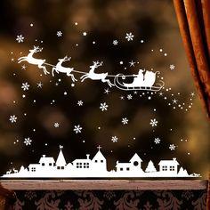 **Fensteraufkleber: Winterstadt mit Weihnachtsmann und Schneeflocken**  Mit diesem Angebot erwerben Sie den Aufkleber in der Größe: **150 cm Breite x 115 cm Höhe + Extra Schneeflocken, Punkte...