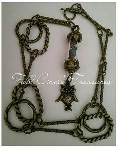 "Check out Handmade Chakra vessel necklace, zen, gemstones, steampunk, meatphysical, amethyst, antiqued, original design, owl, 24"" Vessel necklace on fullcircletreasures"