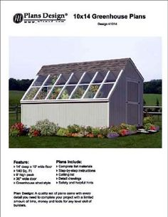 10' x 14' Backyard Storage Shed / Garden Greenhouse Project Plans,