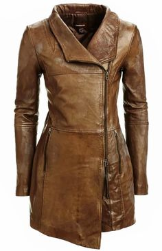 Gorgeous brown danier long leather jacket