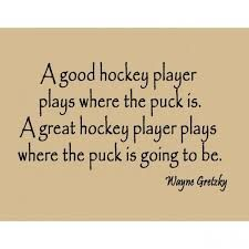Well good players play where the puck is great players play we're the puck is going to be Boys Hockey Bedroom, Hockey Room, Hockey Quotes, Sport Quotes, Pittsburgh Sports, Pittsburgh Penguins, Hockey Party, Wayne Gretzky, Hockey Shirts