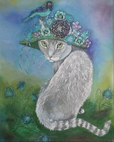 LADY GRAY by Gina Sutton  10% of the sale of this original acrylic painting will go to animal rescue. #art #acrylicpainting #whimsical