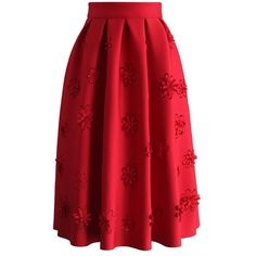 Chicwish Falling Flowers Airy Pleated Midi Skirt in Red (€36) ❤ liked on Polyvore featuring skirts, red, flower skirt, pleated skirts, red midi skirt, floral knee length skirt and red skirt