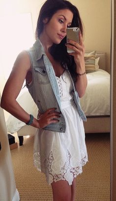 denim vest and white dress