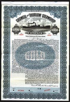 Crowell and Thurlow Steamship Co., 1915 Specimen Bond.