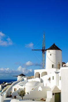 Windmill in Oia, Santorini, Greece
