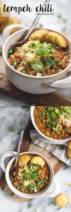 Tempeh Chili! This is the perfect meatless chili, packed with fiber and protein. Rich, hearty, vegan and gluten-free.   www.delishknowledge.com