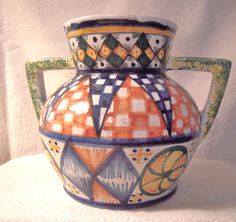 Antique French Quimper Art Deco Vase by ParlezVousGrits on Etsy, $148.00