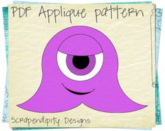 Monster Applique Pattern  Halloween Applique Template  Kids