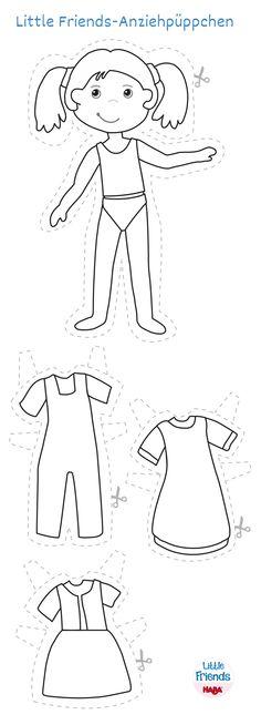 Little Friends-Anziehpüppchen -  Was soll Milla anziehen? Ihre Latzhose oder doch lieber ein Kleid? Und überhaupt: Hier fehlen noch schöne Farben … am besten nehmt ihr Bunt- oder Filzstifte und legt gleich los. Eure Eltern helfen bestimmt beim Ausdrucken der Vorlage. Dann könnt ihr Milla und ihre Klamotten ausmalen und anschließend ausschneiden. So trägt Milla am Ende eure designte Kleidung.