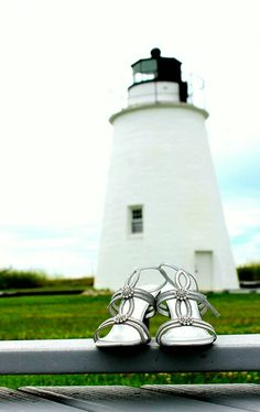 Wedding shoes with Piney Point Lighthouse