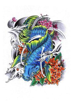 koi flower color tattoo