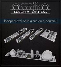 calha úmida - canal equipado inox 304 - cozinha área gourmet